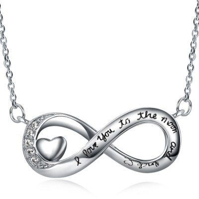 Round Cut White Sapphire Heart S925 Silver Infinity Necklaces