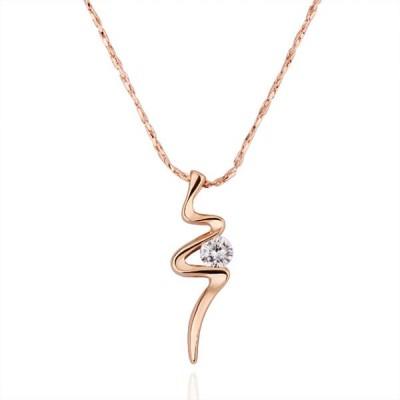 Round Cut White Sapphire Rose Gold/Silver Titanium Necklaces