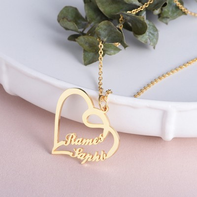 925 Sterling Silver Gold Overlapping Heart Two Name Necklace