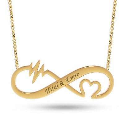 925 Sterling Silver Gold Infinity Love Engraved Necklace