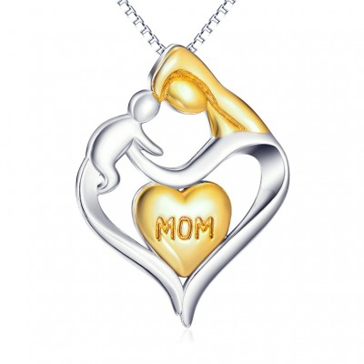 Gift for Mom 925 Sterling Silver Gold Heart Necklace