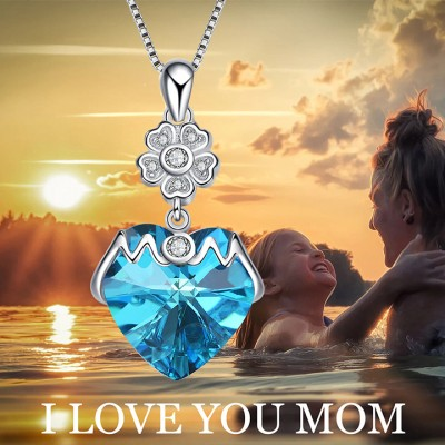 Gift for Mom 925 Sterling Silver Crystal Heart Necklace