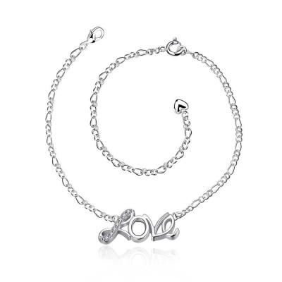 Round Cut White Sapphire Love Silver Titanium Anklets
