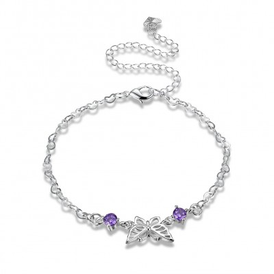 Round Cut Amethyst Butterfly Silver Titanium Anklets
