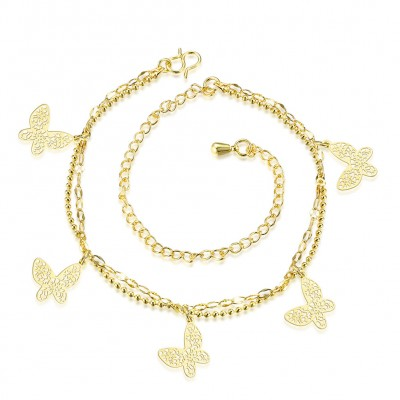 Butterfly Shape Silver/Gold Titanium Anklets