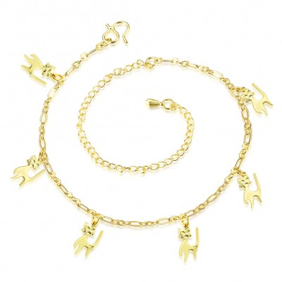 Cute Kitten Silver/Gold Titanium Anklets