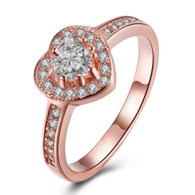Titanium Rose Gold Heart Cut White Sapphire Promise Rings