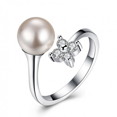 Round Cut White Sapphire S925 Silver Pearl Promise Rings