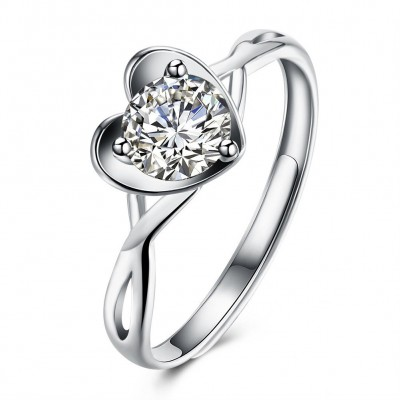 Heart Round Cut White Sapphire S925 Silver Engagement Rings