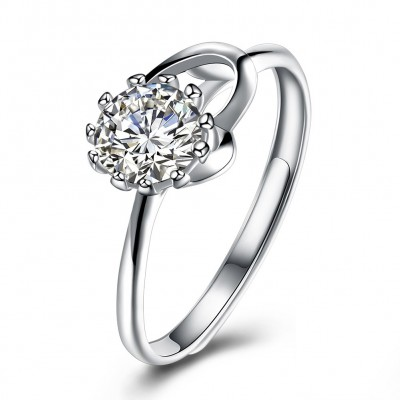 Round Cut White Sapphire S925 Silver Elegant Engagement Rings