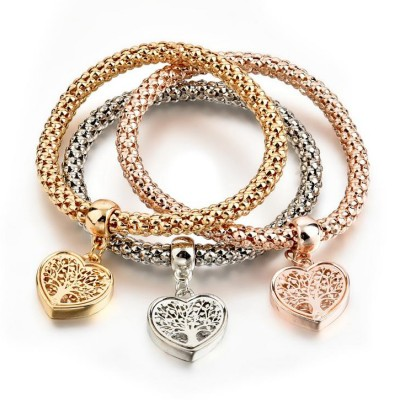 """Tree Of Life"" Heart Edition Charm Bracelet Trio With Austrian Crystals"