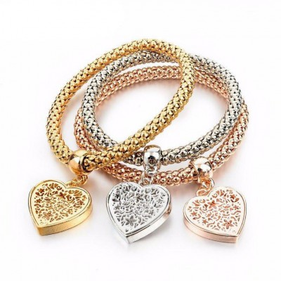 Heart Charm Bracelet Trio With Austrian Crystals