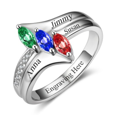 Marquise Cut 925 Sterling Silver Engraved Personalized Birthstone Ring