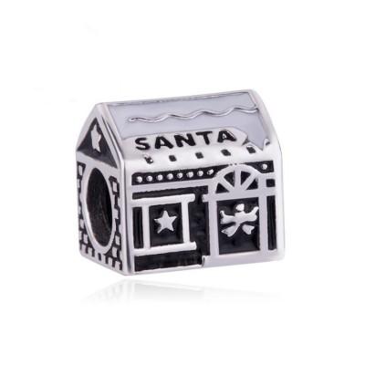 Santa House Charm Sterling Silver