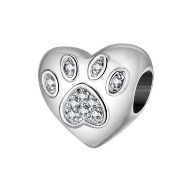 Paw Charm Heart Sterling Silver