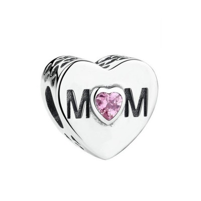 Mom with Pink Stone Charm Sterling Silver