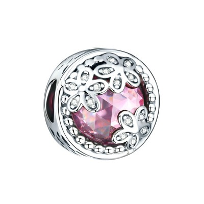 Flowers with Pink Stone Charm Sterling Silver