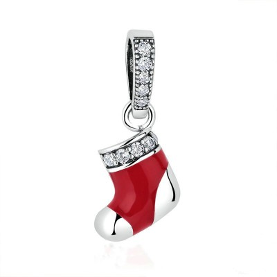 Christmas Shoe Charm Sterling Silver