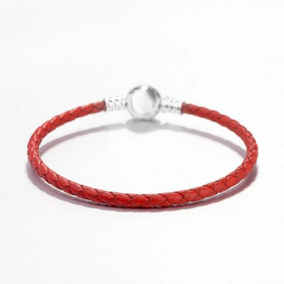 Red Woven Leather Charm Bracelet