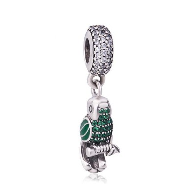 Green & Blue Parrot Charm Sterling Silver