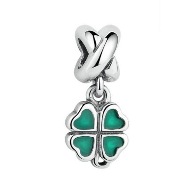 Clover Green Charm Sterling Silver