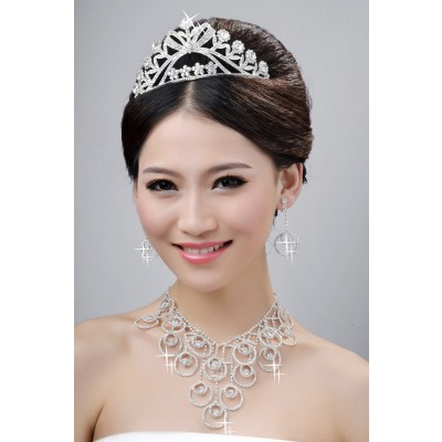 New Style Beautiful Alloy Crystals Wedding Headpieces Necklaces Earrings Set