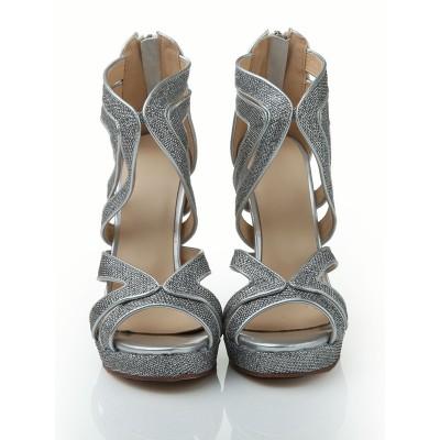 Women's Stiletto Heel Peep Toe Elastic Leather Platform With Sequin Sandals Shoes