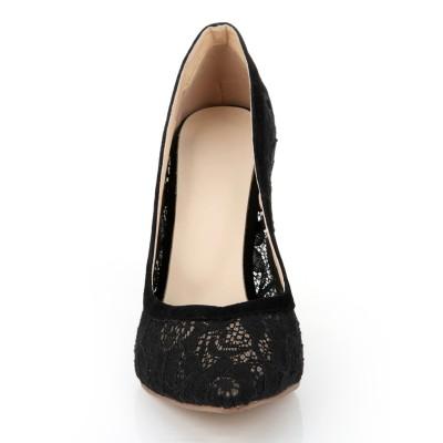 Women's Stiletto Heel Lace Black Closed Toe Office High Heels