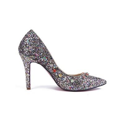 Women's Closed Toe Sparkling Glitter with Rhinestones Stiletto Heel High Heels