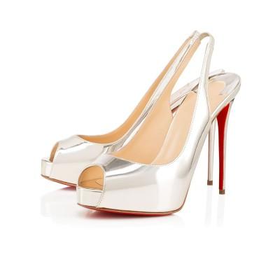 Women's Peep Toe Patent Leather Stiletto Heel Platform Silver Sandals Shoes