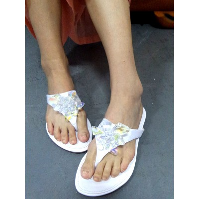 Women's Peep Toe Patent Leather with Rhinestone Buckle Flats White Sandals Shoes