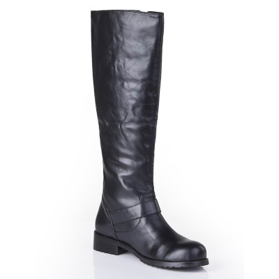 Women's Cattlehide Leather Closed Toe Kitten Heel With Buckle Mid-Calf Black Boots