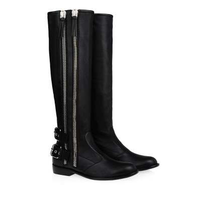 Women's Kitten Heel Cattlehide Leather With Buckle Zipper Knee High Black Boots