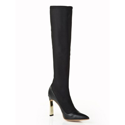 Women's Elastic Leather Stiletto Heel With Pearl Knee High Black Boots
