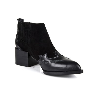 Women's Kitten Heel Closed Toe Cattlehide Leather Black Booties