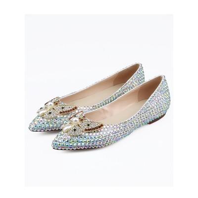 Women's Sheepskin Closed Toe Rhinestones Flat Shoes
