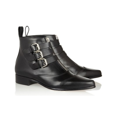 Women's Cattlehide Leather Kitten Heel Closed Toe With Zipper Buckle Black Booties