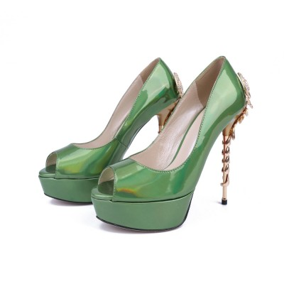 Women's Stiletto Heel Platform Patent Leather Peep Toe With Rhinestone Platforms Shoes