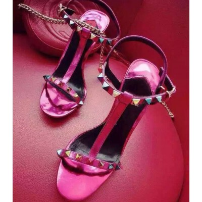 Women's Peep Toe Chunky Heel Patent Leather With Rivet Sandals Shoes