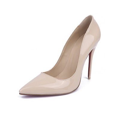 Women's Patent Leather Closed Toe Stiletto Heel Office High Heels