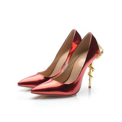Women's Stiletto Heel Patent Leather Closed Toe With Rhinestone High Heels