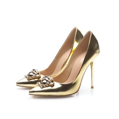 Women's Gold Patent Leather Closed Toe Stiletto Heel High Heels