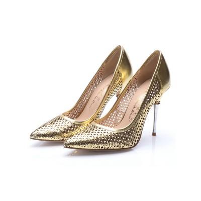 Women's Patent Leather Gold Closed Toe Stiletto Heel High Heels