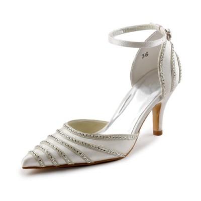 Women's Satin Stiletto Heel Closed Toe Pumps Dance Shoes With Buckle Rhinestone