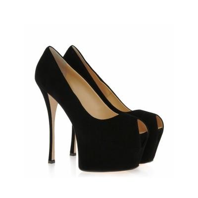 Women's Suede Stiletto Heel Peep Toe Platform High Heels