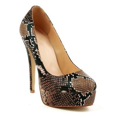 Women's Hogskin Closed Toe Stiletto Heel Platform High Heels