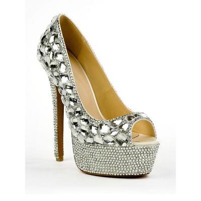 Women's Patent Leather Peep Toe Stiletto Heel Platform With Rhinestone High Heels