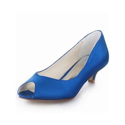 Women's Kitten Heel Satin Peep Toe High Heels