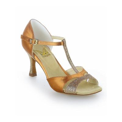 Women's Satin Peep Toe Buckle Stiletto Heel Dance Shoes