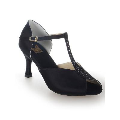 Women's Buckle Satin Peep Toe Stiletto Heel Dance Shoes